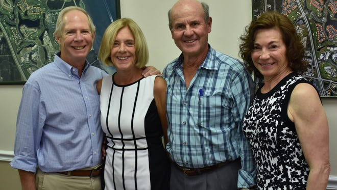 Some of the Grand Harbor Outreach Program board members: Vice President Philanthropy Dale Jacobs; Past President Susanne and current President Doug Sweeny with Vice President Annual Fund Charlene Friedman.
