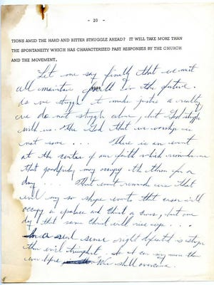 """This is one of the pages from a 20-page draft of a speech that Martin Luther King Jr. gave in 1965 in Chicago. The document, dubbed the """"We Shall Overcome"""" speech, goes on display at the University of Memphis library in late March through mid-April."""