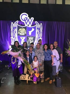 Kyler Leon Guerrero Diego graduated from George Washington High School June 1, 2018. His parents are Martha and Patrick Toves.  Pictured front row: Kayori Toves and Kerigan Toves, sisters. Second row: Kierra Diego, sister, Patrick Toves, father, Kayana Leon Guerrero, sister, Janet Leon Guerrero and Ricardo Leon Guerrero, grandparents. Back row: Martha LG Toves, mother, Kedrick Diego, brother and Kolbric Diego, brother.
