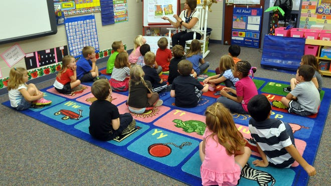 Kindergarten students at Kent Lake Elementary in South Lyon pre-pandemic. Both South Lyon and Huron Valley school districts are hoping to return to a more normal school year by making masks optional in 2021-2022.