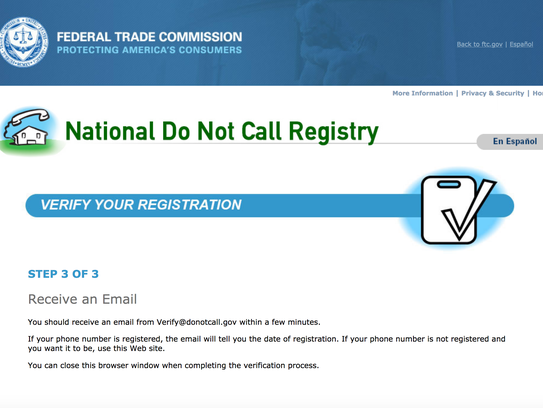 Putting your number in the Do Not Call registry is