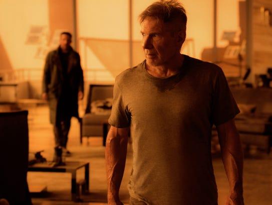 """In """"Blade Runner 2049,"""" K (Ryan Gosling, left) and"""