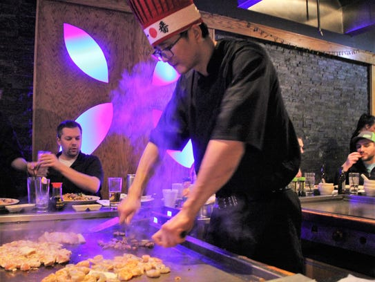 "Our entertaining hibachi chef ""Two"" at Kobe Japanese"