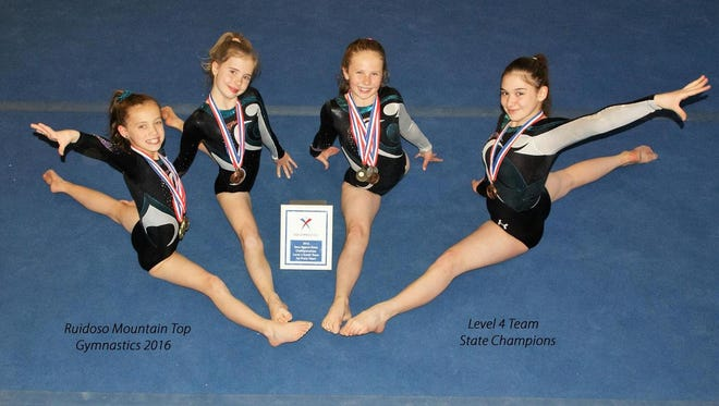 Level 4 gymnasts at Ruidoso's Mountain Top Gymnastics came home from Rio Rancho with a state championship.