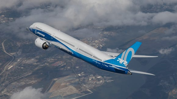 In this image provided by Boeing, the jetmaker's 787-10
