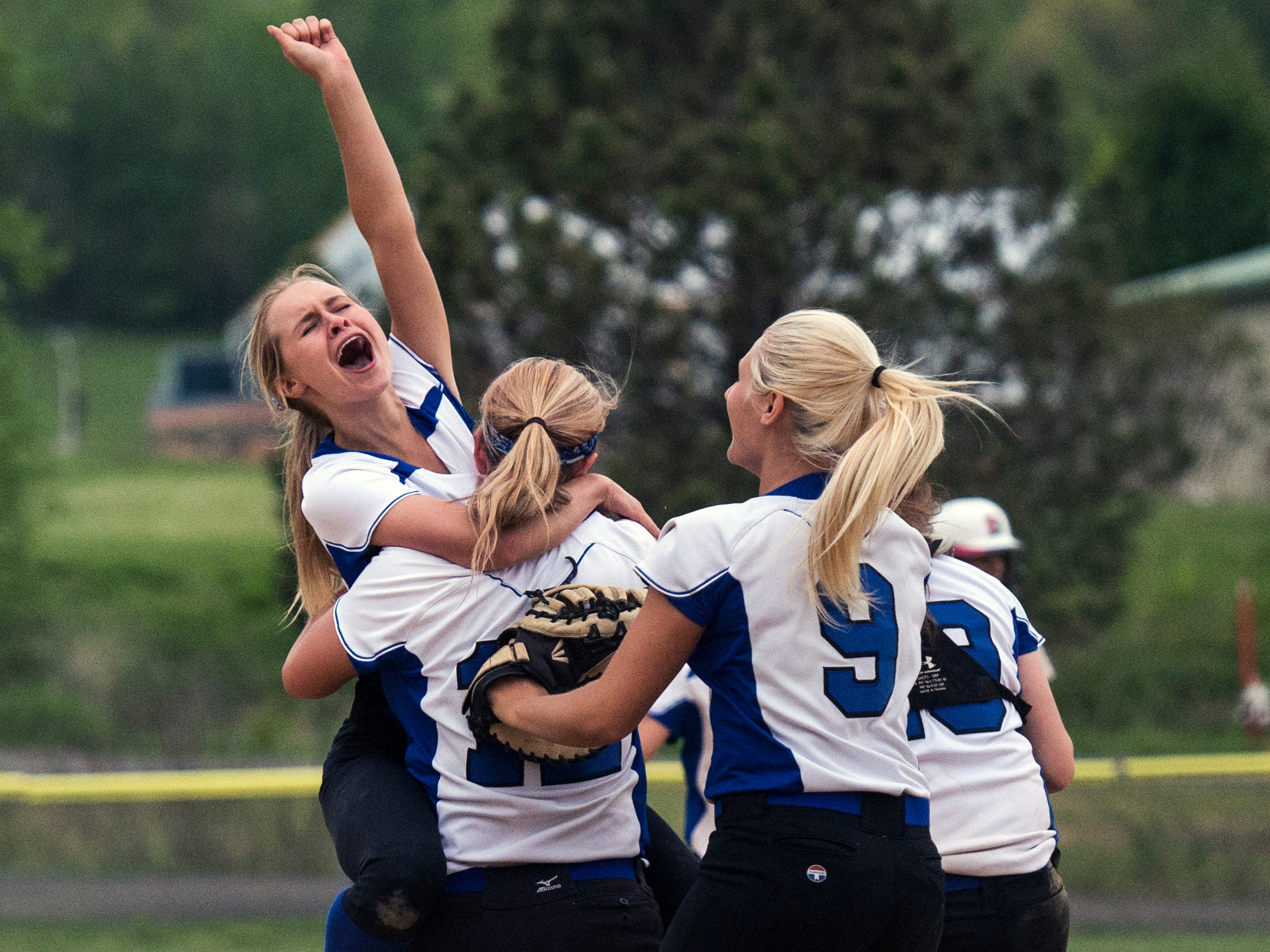 Horseheads player Kayla Tyler celebrates the final out after the Blue Raiders defeated Binghamton 5-2 on Friday evening to win the Southern Tier Athletic Conference title at the BAGSAI Complex in Binghamton.