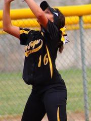 Alamogordo sophomore third baseman Kayla Lunar catches a fly ball.