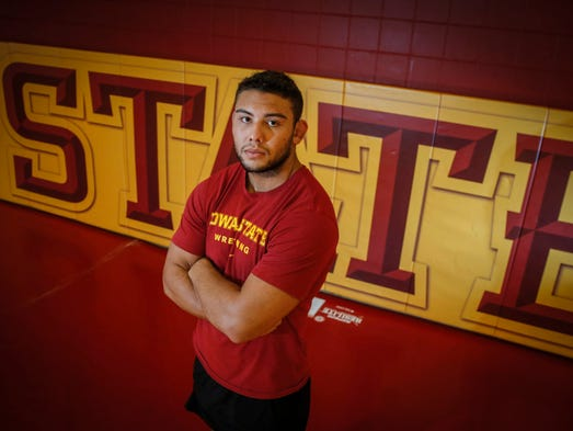 Iowa State 285-pounder Marcus Harrington poses for