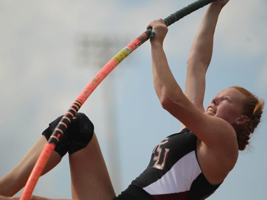 Florida High senior Kelley Breeden pole vaults during