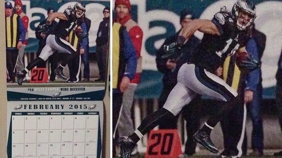 Photo of Riley Cooper on Philadelphia Eagles' official team calendar for February.
