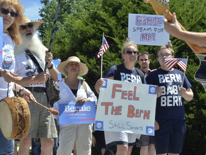 Participants in a rally in support of U.S. Sen. Bernie