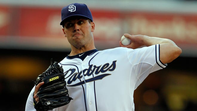 San Diego Padres starting pitcher Clayton Richard throws against the Los Angeles Dodgers in the first inning during a baseball game Friday, June 21, 2013, in San Diego. Richard left the game after two pitches.  (AP Photo/Alex Gallardo)102