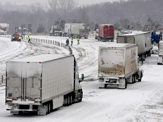 Traffic comes to a stop Tuesday on Interstate Highway 94 west of Monticello near the Hasty exit. The interstate was closed in both directions as crews cleared multiple road incidents.