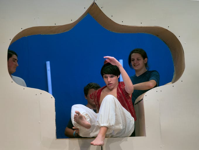 Aladdin is thrown into a cave during rehearsal for