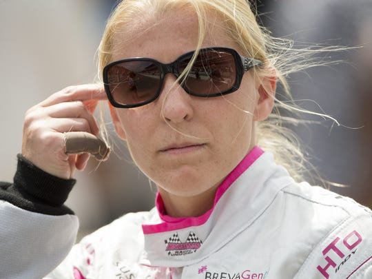 Pippa Mann heads to her car, prerace, IMS, Indy 500, Sunday, May 28, 2017.