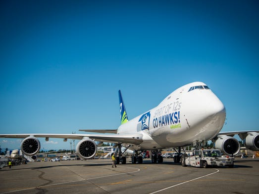 Boeing revealed photos of its latest Seattle Seahawks-themed
