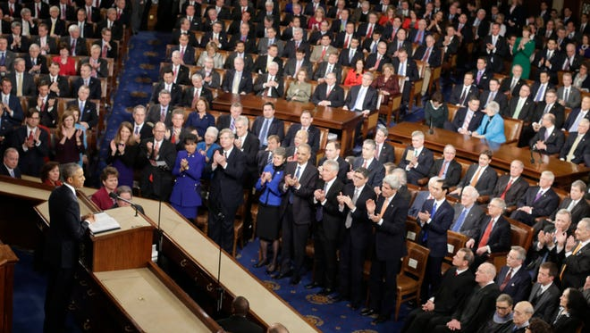 President Barack Obama gives his State of the Union address before a joint session of Congress on Capitol Hill in Washington, Tuesday, Jan. 20, 2015 (AP Photo/Pablo Martinez Monsivais)