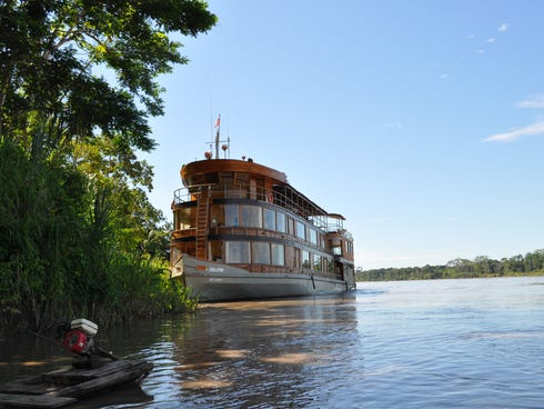The Delfin II is able to tie up on trees, allowing guests to easily explore the Amazon via skiff rides. You embark right from the ship.