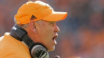 Phillip Fulmer yells to his team during the first half of  a game against Wyoming on Nov. 8, 2008, at Neyland Stadium.