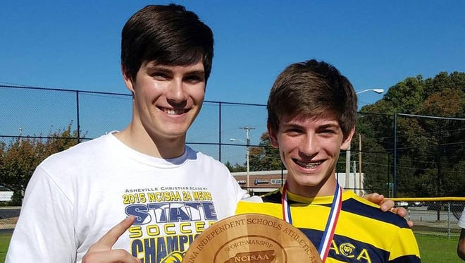 Asheville Christian Academy freshman Reece Collie, right, and his older brother Logan. Logan Collie was the goalkeeper for the Lions' 2015 NCISAA 2-A championship soccer team.