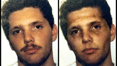 Paul Jackson's booking photo in 1990, left, and an age-enhanced rendering.