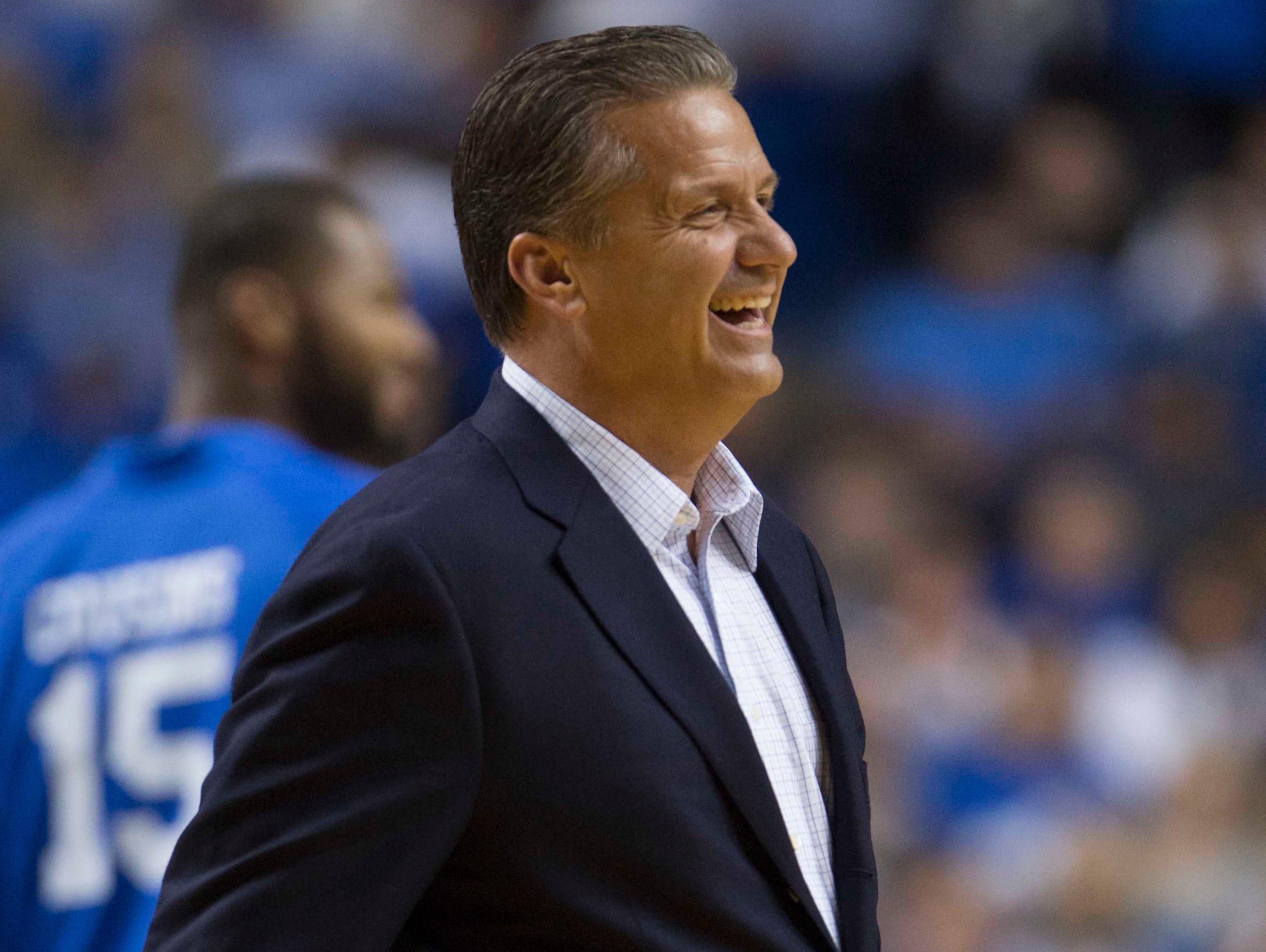 Kentucky Wildcats head coach John Calipari looks on during the Alumni Game against North Carolina at Rupp Arena.