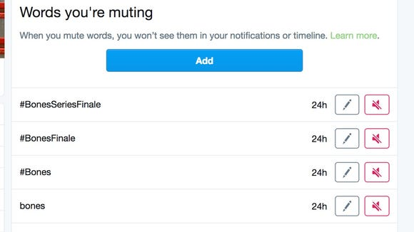 Twitter gives you the option to mute a list of words.