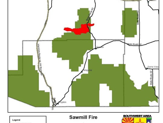The location of the Sawmill Fire southeast of Tucson.