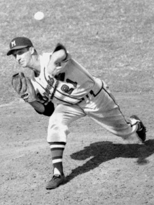 Warren Spahn as seen on March 21, 1954 as a pitcher for the Milwaukee Braves during a spring training game at Bradenton. He pitched for 21 seasons, winning 363 games and posting 20 or more victories a National League-record 13 times.