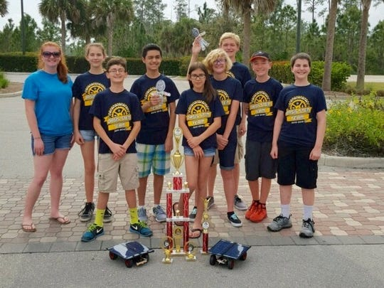 """Oasis Middle School students celebrate their performance in the annual STEM Tour, an event that brings together students from Charlotte, Collier and Lee counties. The eighth-grade team, called the """"Nerd Squad,"""" took first, while the seventh-graders, known as the Nerd Herd, took third. They are: Cole Logan, Abigail Brock, Mikayla Pfenning, Max Ahmadi, Laney Maxey, Aiden Malone, Emily Logan, Brendan Teblum, Sebastian Ospina, Birdie Manahan and Brooke Pfenning."""