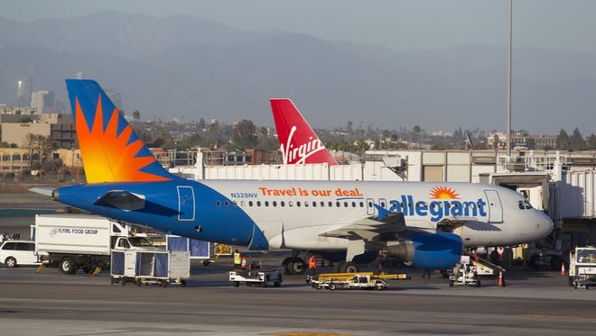 An Allegiant Airbus A319 is seen in Las Vegas on Sept. 25, 2016.