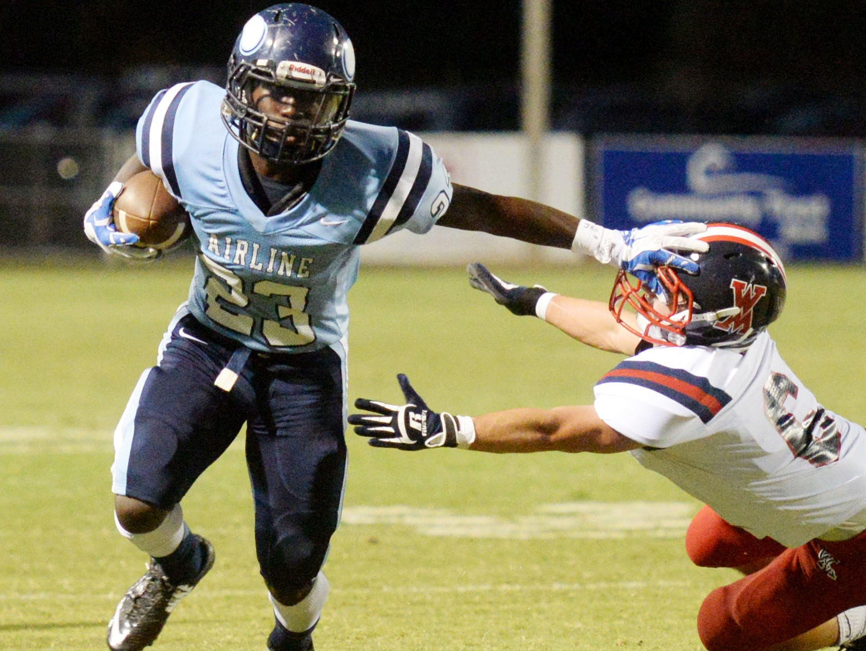 Airline's D'Kameron White(23) will be one of three area high school football standouts signing with Northeastern State during a Wednesday ceremony.