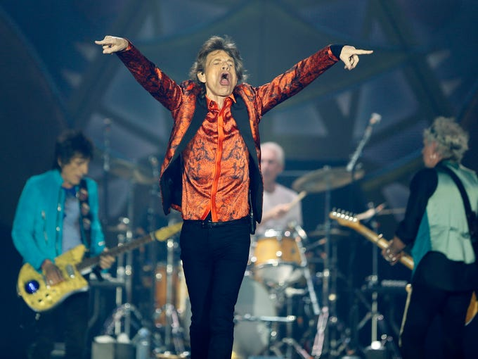 Rolling Stones lead singer Mick Jagger gets the crowd