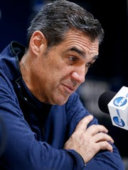 Villanova coach Jay Wright takes questions during an NCAA men's college basketball tournament news conference, Friday, March 16, 2018, in Pittsburgh. Villanova faces Alabama in a second-round game on Saturday. (AP Photo/Keith Srakocic)