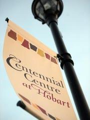A pole flag on Centennial Centre Boulevard in Hobart.