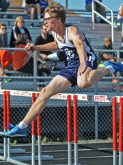 Central Catholic freshman Cooper Boehm in the 110 meter hurdles Thursday at the West Lafayette boys IHSAA sectionals.