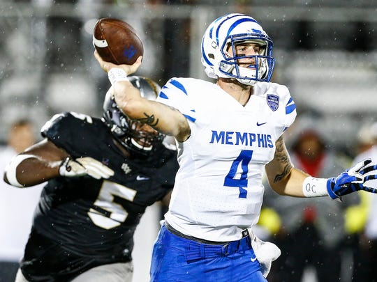 Memphis quarterback Riley Ferguson was 27-of-49 for 321 yards with three interceptions, a fumble and a touchdown pass on the last play of the game against Central Florida on Sept. 30, 2017.