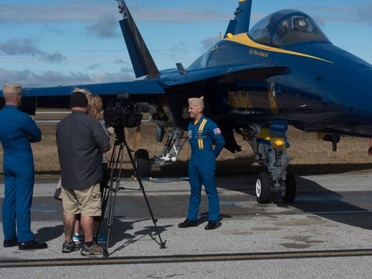 Capt. Ryan Bernacchi, commander of the U.S. Navy Blue Angels, talks with the media Thursday, Nov. 9, 2017, as the team prepares for its final air shows of the season. Bernacchi will leave the team at the end of the season.