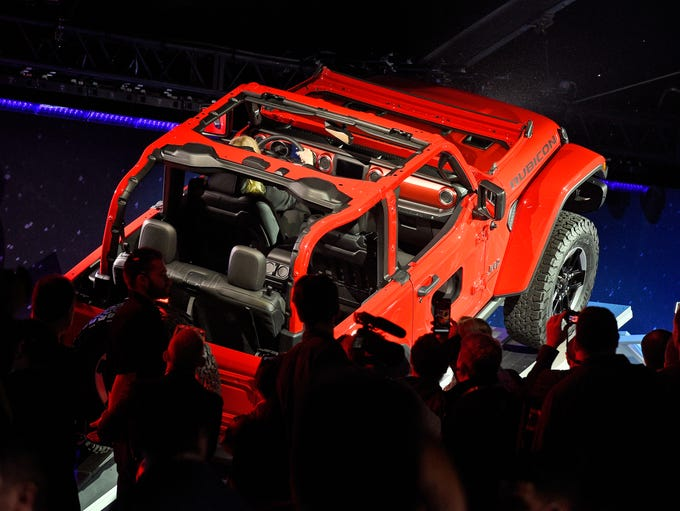The 2019 Jeep Wrangler is introduced during the auto