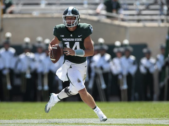 Sept. 2: Brian Lewerke throws for 250 yards and three scores, and runs for another 69 yards in Michigan State's 35-10 win over Bowling Green at Spartan Stadium in East Lansing.
