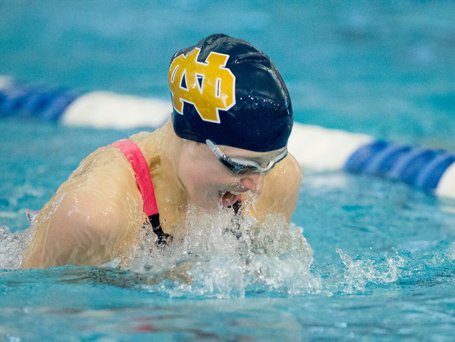 Notre Dame's Molly Craig swims to 8th place in the 200 Yard Individual Medley Saturday at the girls state swimming championships held at Ithaca College.