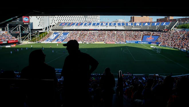 FC Cincinnati fans watch the game in the second half during the USL soccer game between Orlando City B and FC Cincinnati, Saturday, May 13, 2017.