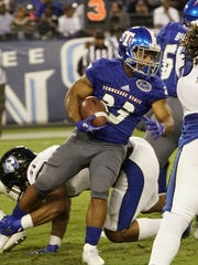 Tennessee State running back Seth Rowland tries to