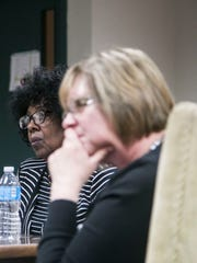 From left, Judy Ritter-Dickson, of York City and PA Human Relations Commission Press Secretary Christina Reese, of Harrisburg look on while others comment during the York County Advisory Council meeting Wednesday, Nov. 16, 2016, at Crispus Attucks in York City. The York County Advisory Council (YCAC) meets on the 3rd Wednesday of each month. The purpose is to bring citizens from all over York County to be informed about and educated about issues that deal with discrimination throughout York County. Amanda J. Cain photo