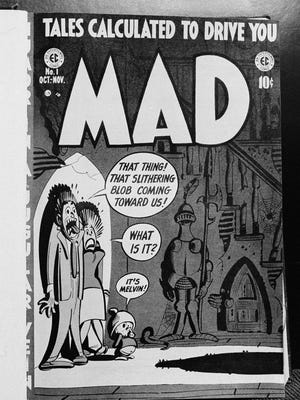 This is the cover of the first Mad magazine when it appeared in 1952 as an experimental comic book.