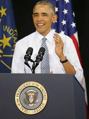President Barack Obama speaks at Concord Community High School in Elkhart, Ind., addressing the city's economic success since 2009, Wednesday, June 1, 2016. Obama first visited Elkhart in January of 2009, his first trip as president.