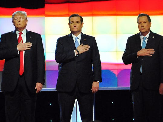 Republican presidential candidates Donald Trump, Ted