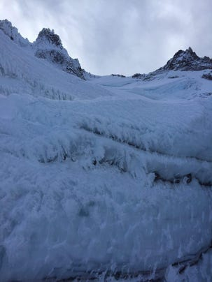 Conditions on Mount Jefferson were very icy and slick
