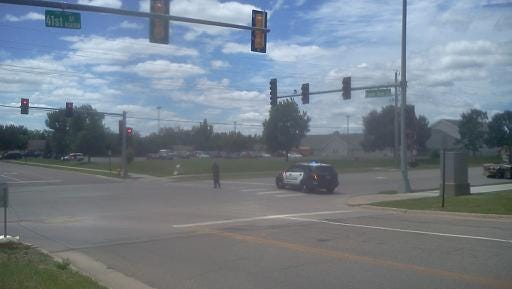 Crews block the road at the 41st and Sertoma area after a gas leak was reported.