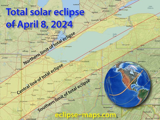The April 8, 2024 solar eclipse will have Detroit with 99% coverage of the sun, with the path of totality, the area where the sun is entirely blocked out by the moon, through the Toledo area.